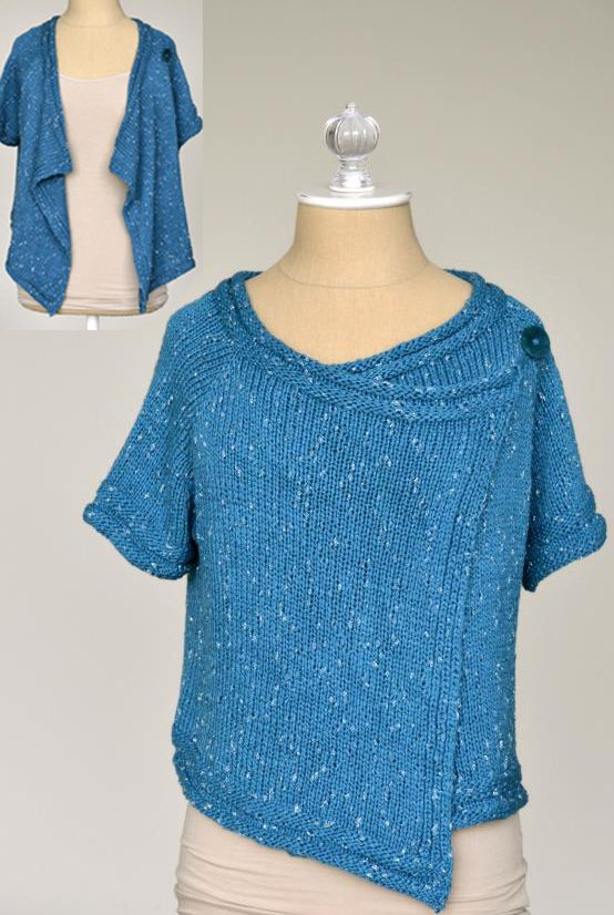 Free Knitting Pattern Short Jacket : Free Knitting Pattern for Drape Front Cardigan - This short-sleeved sweater f...
