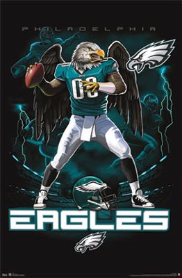 Philadelphia Eagles On Fire NFL Theme Art Poster - Costacos Sports