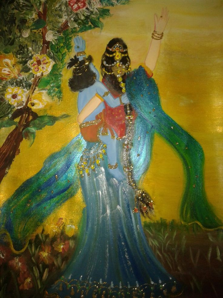 Oil painting of Krishna and Yshoda maa
