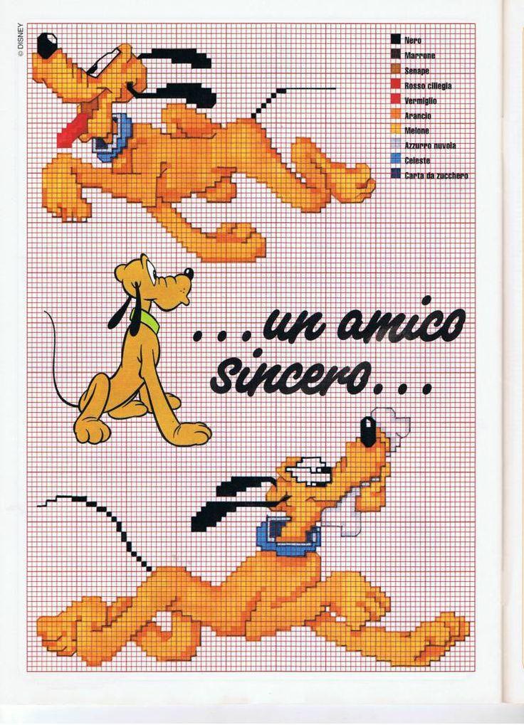 Pluto a punto croce disney punto croce pinterest for Schemi punto croce pluto