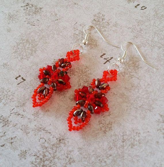 Oranje kruis oorbellen Oranje rode 'Cross door HoneyBeads1Official