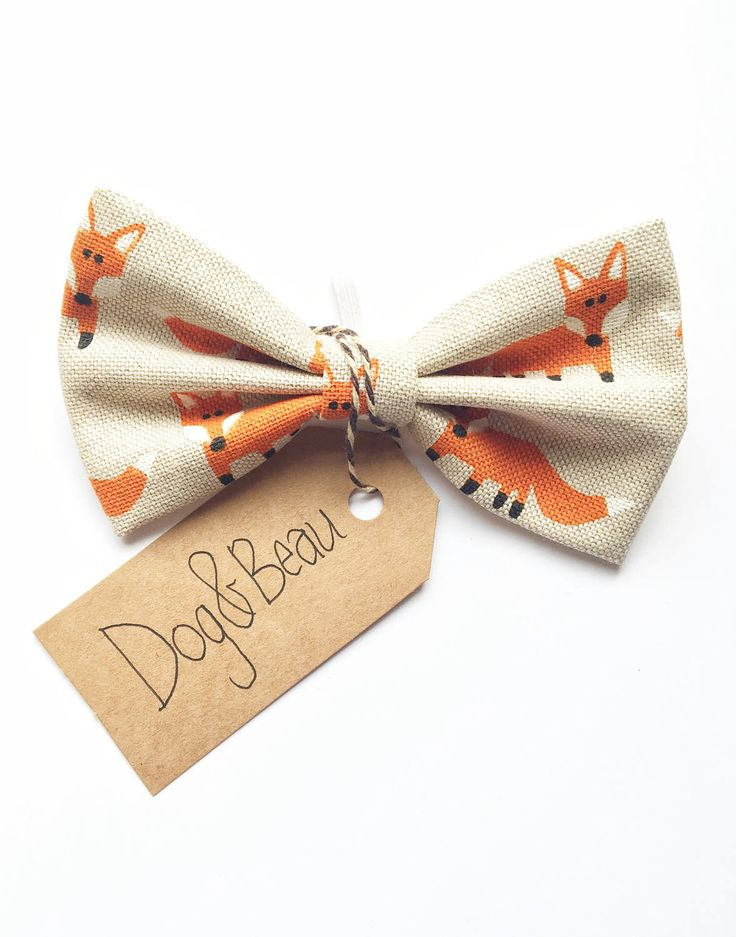 A personal favorite from my Etsy shop https://www.etsy.com/uk/listing/509422626/dog-bow-tie-fox-print-bow-tie-linen-bow