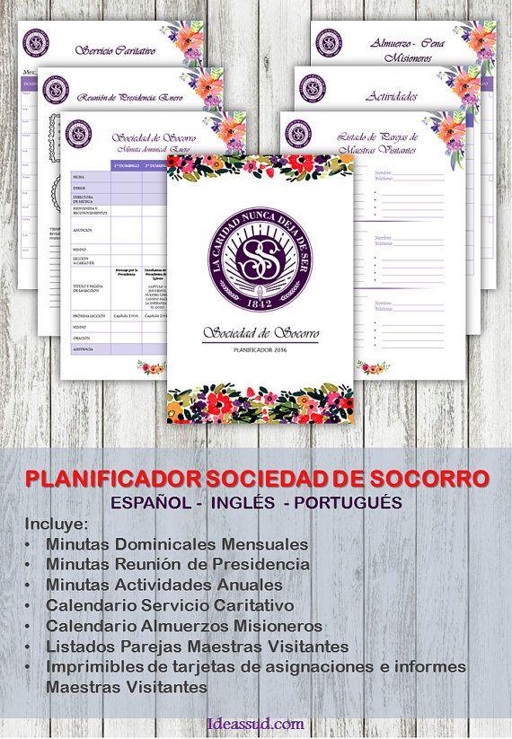 Planificador Sociedad de Socorro 2016  Español by Ideassud on Etsy