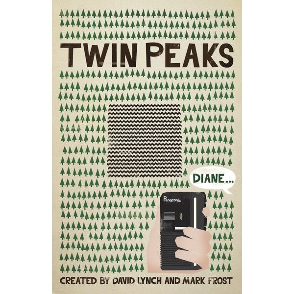 Twin Peaks Poster by ChrisMMiller ❤ liked on Polyvore featuring home, home decor, wall art, fillers and books