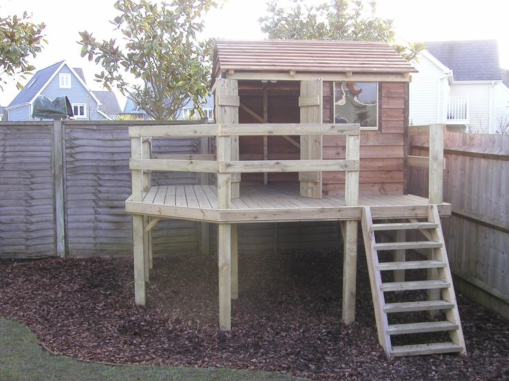 Soft Wood raised Play House with an adventure Platform