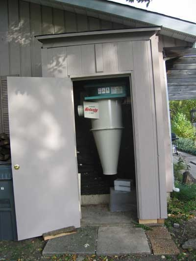 Cyclone Dust Collector Outside Shop Woodshop