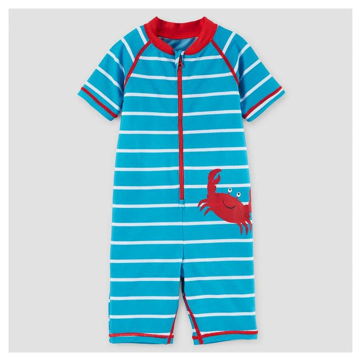 Baby Boys' One Piece Rash Guard Crab 12M - Just One You Made by Carter's, Infant Boy's, Size: 12 M, Blue
