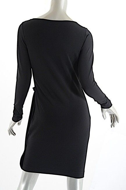 17f719ae Black Polyester Stretch Knit with Reverse Drape Casual Dress ...
