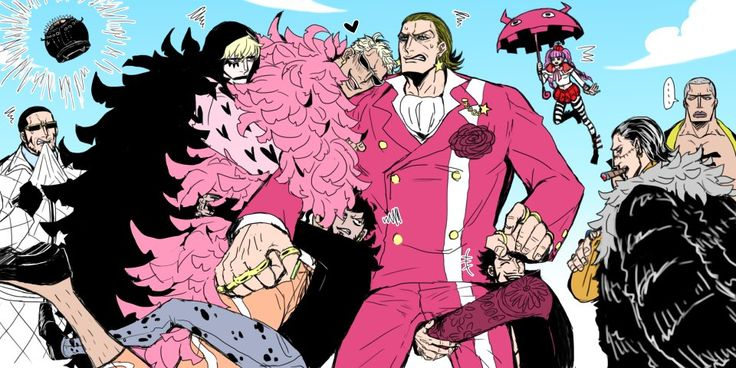 One Piece, Gild Tesoro, Doflamingo, Law, Corazon, Sir Crocodile, Mihawk, Perona, Vergo...... Mihawk are you drunk ? o_O