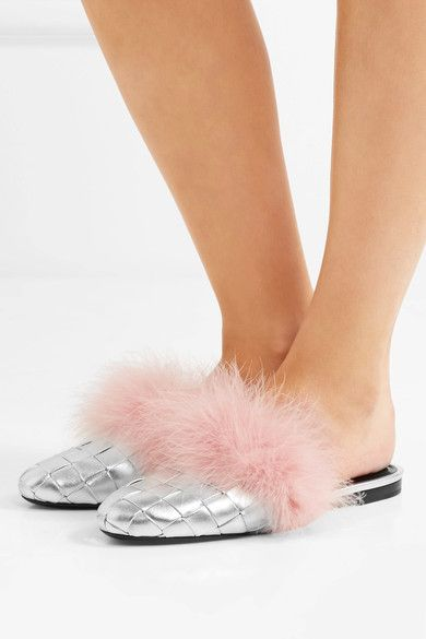 Marco De Vincenzo - Feather-embellished Woven Metallic Leather Slippers - Silver - IT39.5