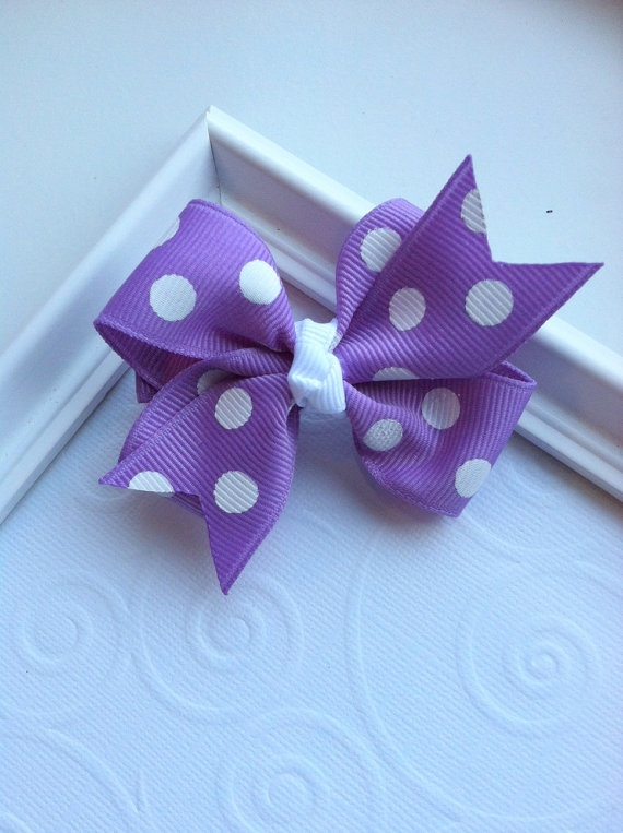 Dark Orchid with White Polka Dots Classic Hair Bow by CCsChicBowtique, $2.75