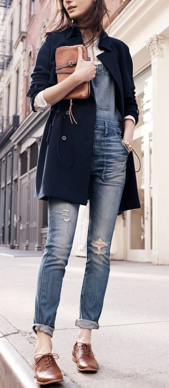 Street style | Fall outfit - overalls and a navy pea coat