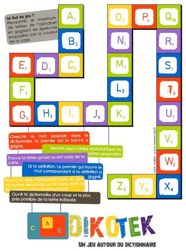 Un jeu pour travailler l'utilisation du dictionnaire en cycle 3. Il est composé d'un plateau de jeu (ci-contre), d'une fiche score individuelle ainsi qu'une centaine de cartes réparties en différ...