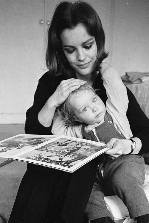 Romy Schneider with son David Christopher in 1968