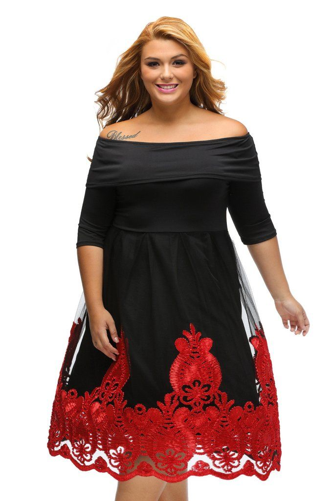Robes Patineuse Grandes Tailles Curvy Jaune Broderie Dentelle Tulle Jupe MB61364-3 – Modebuy.com