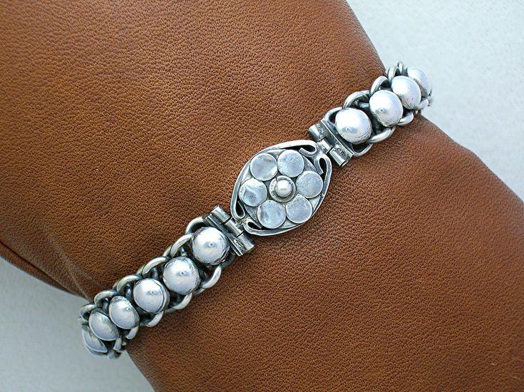 Sterling Silver Flower Bracelet Hook Clasp Indonesia