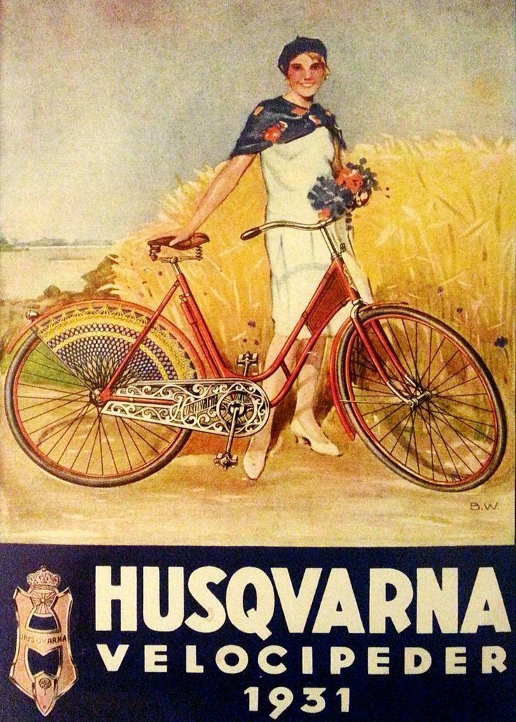 "SWEDISH!!!! BICYCLE!!!!!Poster: ""Husqvarna Velocipeder"" (Bicycle) Sweden, 1931"