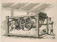 La desmontadora de algodón fue inventada por Eli Whitney en 1793 para aplicarla a la industria textil.  Automáticamente sacaba las semillas de algodones de las plantitas, esta máquina podía hacer el trabajo de 50 personas. Subido por: Sofía MIláns del Bosch