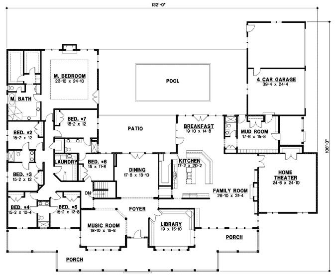 country style house plans 7028 square foot home 1 story 7 bedroom and - Large House Plans