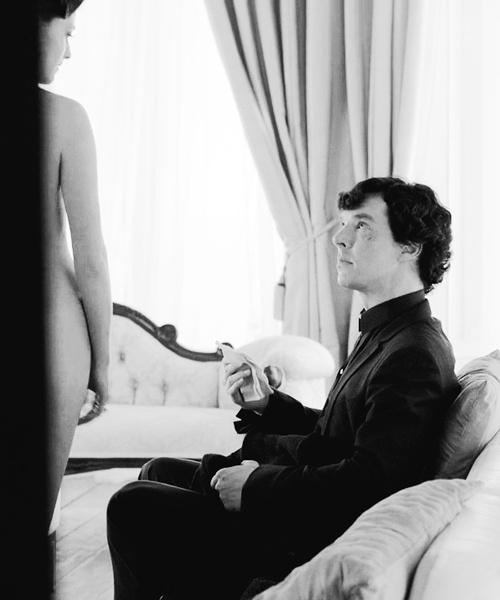 "Sherlock & Irene Adler (The woman). ""Scandal in Belgravia"".  Benedict Cumberbatch and Lara Pulver."