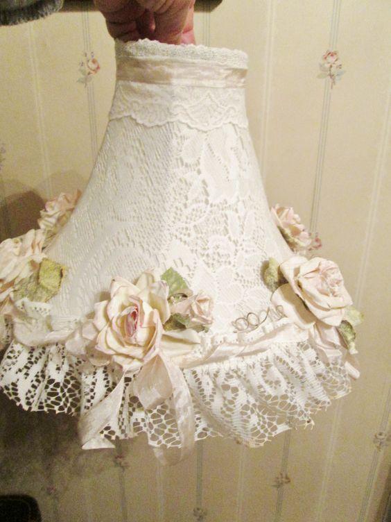 lace shabby pinterest | Lace lamp, Shabby chic style and Pink roses on Pinterest #shabbychicfurniturebedroom
