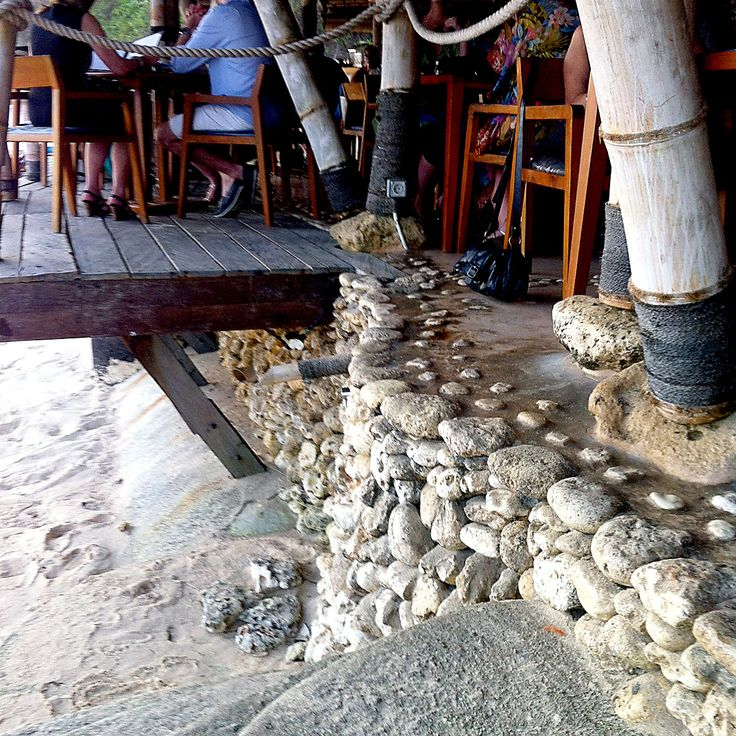 wood, rope, stone, cement and sand