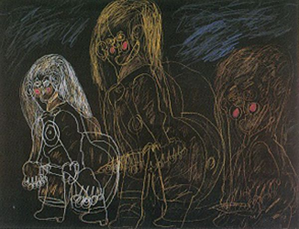 Dwight Mackintosh Untitled (three figures), 1987 prismacolor on paper American