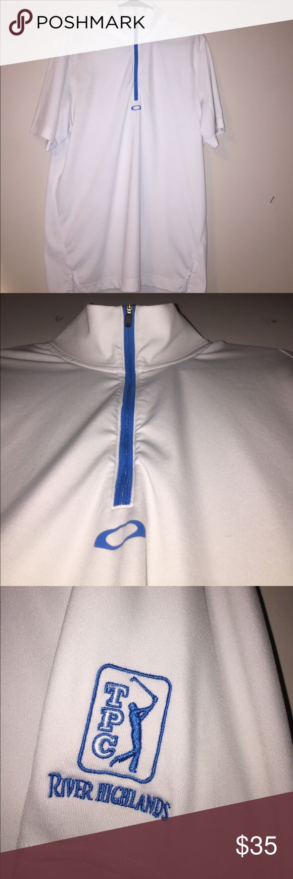 Oakley 1/4 zip golf polo This white and blue Oakley polo should be in every modern day golfer's closet! It was bought at TPC River Highlands at the PGA tournament in CT. It's a really comfortable shirt! Oakley Shirts Polos