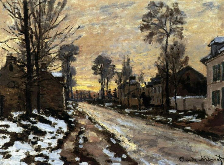 Road to Louveciennes, Melting Snow, Sunset 1869-70 Oil on canvas, 40 x 54 cm Private collection