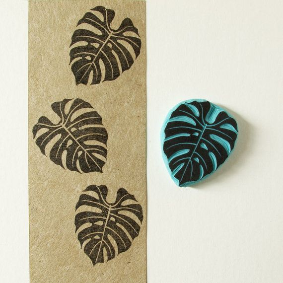 Stamp of a tropical leaf  hand carved rubber stamp by CassaStamps, $11.00