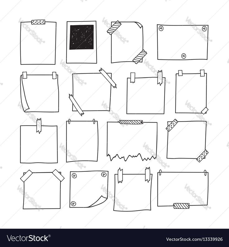 Set of hand drawn paper notes. Notepapers and phot…