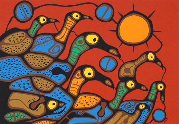 Loon Communication - Norval Morisseau - Contemporary Canadian Native, Inuit & Aboriginal Art - Bearclaw Gallery
