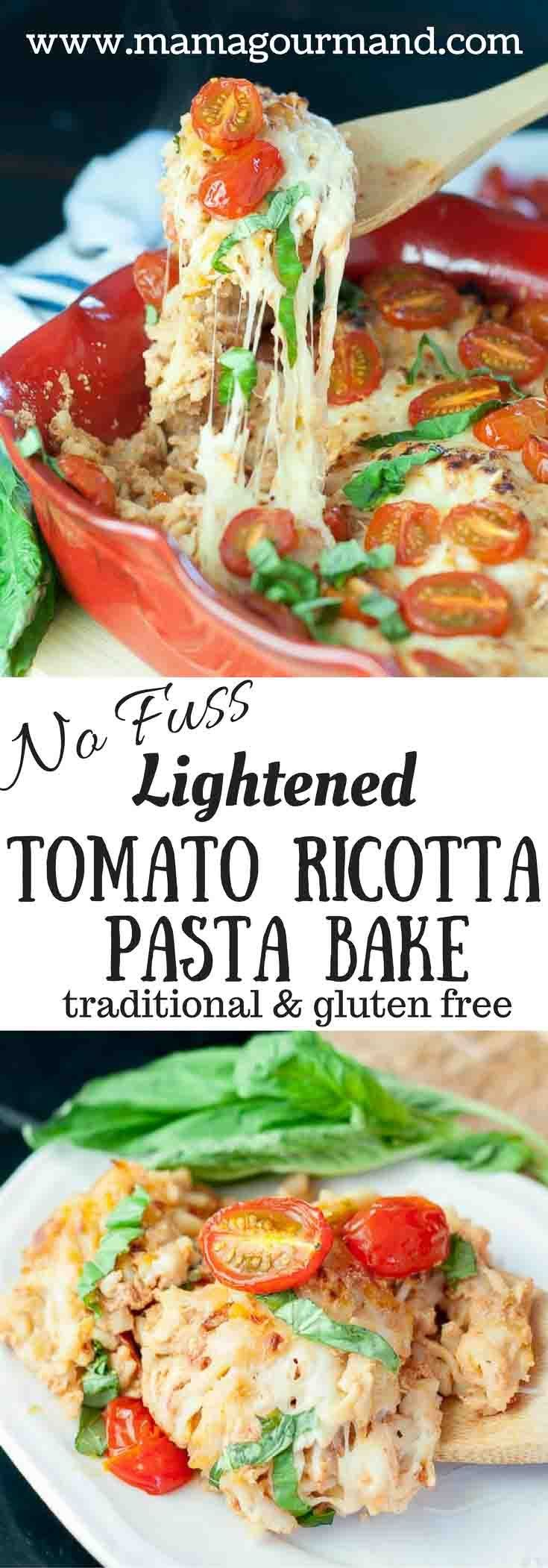 Lightened Tomato Ricotta Pasta Bake is tossed in a creamy tomato sauce, topped with baked mozzarella, roasted grape tomatoes, and fresh basil. Healthy and delicious! http://www.mamagourmand.com via @mamagourmand