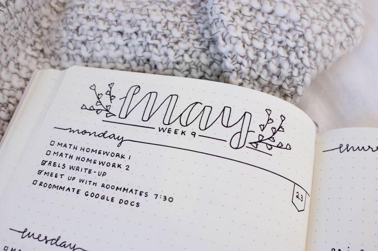 May Bullet Journal Header and Setup