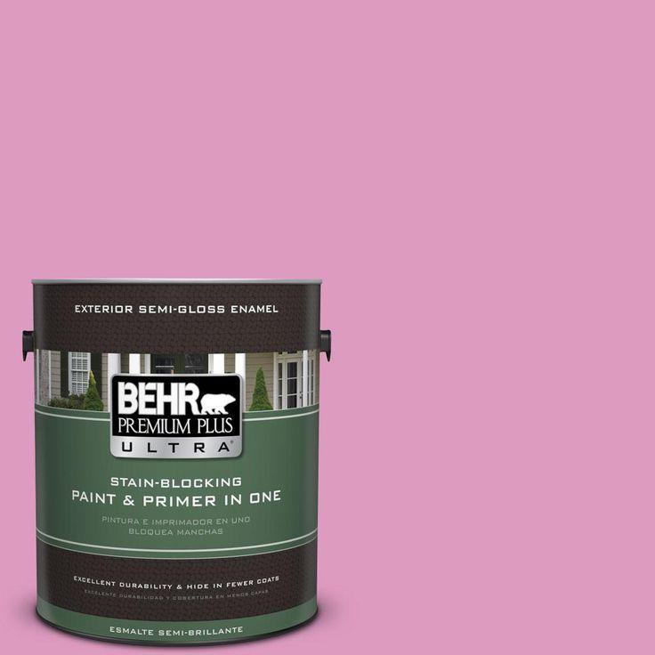 BEHR Premium Plus Ultra 1 Gal. #690B 4 Pink Begonia Semi Gloss Enamel  Exterior Paint, Reds/Pinks