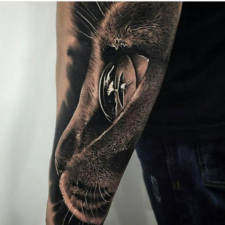 Realistic Tattoo By Samuel Rico Katze Tattoo Tiertattoos Schwarze Katze Tatowierungen