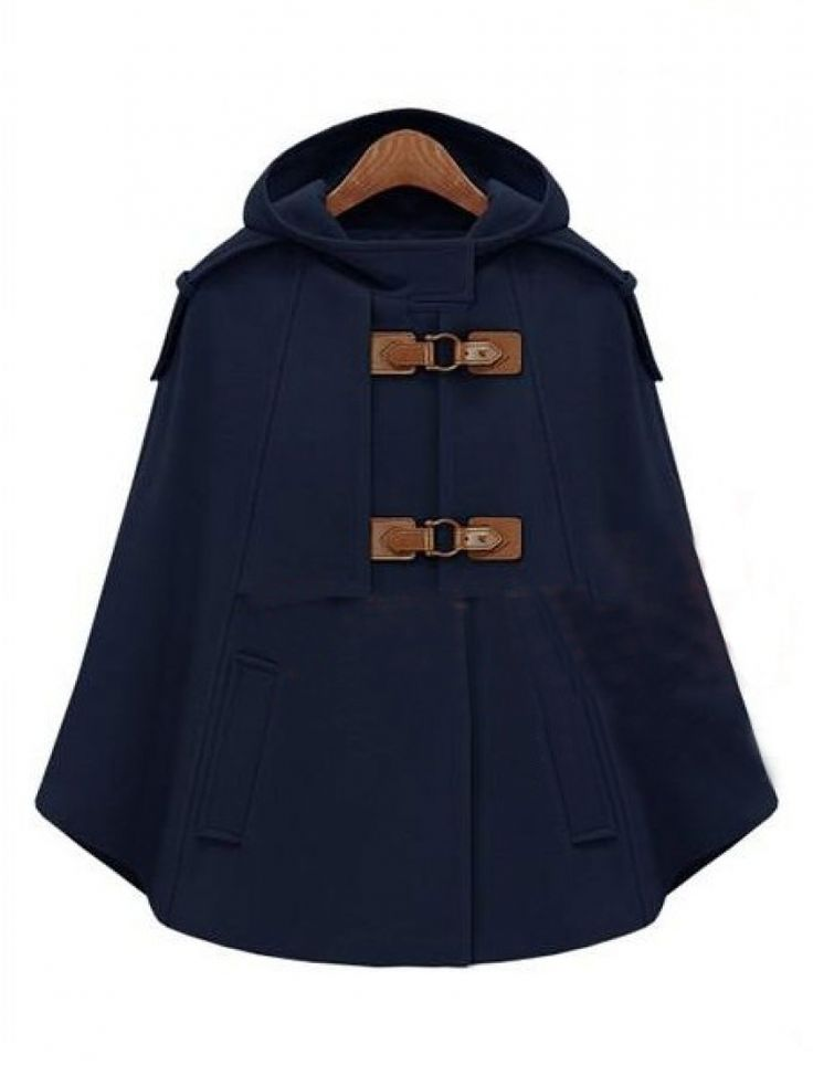 Navy Hooded Buckle Strap Pockets Cape Coat
