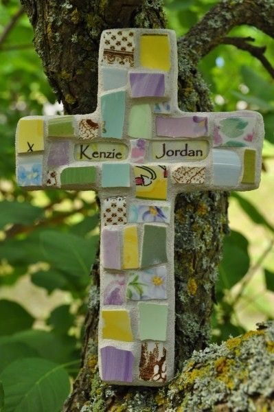 Broken China Mosaic Cross With Personalized Name by PeaceByPieceCo, $21.95