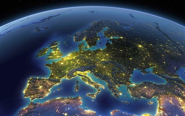 Download wallpapers Europe, Eurasia, continent, view from space, Earth, planet, Europe from space