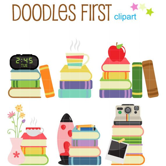 Book Stacks Clip Art for Scrapbooking Card Making by DoodlesFirst