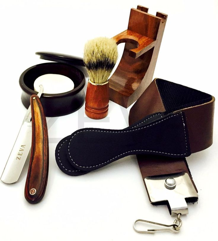 WOOD CUT THROAT 6 PC MEN'S STRAIGHT RAZOR SHAVING KIT LUXURY GIFT SET USA #ZEVA