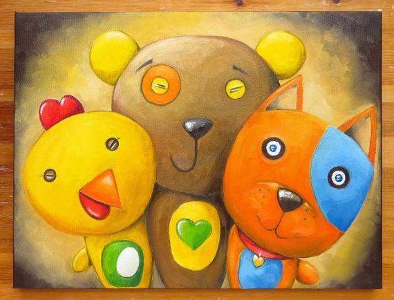 Three Friends Original Art Animals Mates Oil on by MikiMayoShop