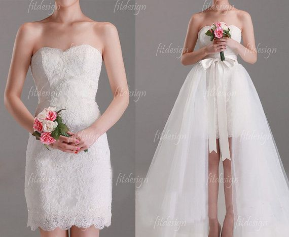 convertible wedding dress lace wedding dress ivory by fitdesign, $209.00 THIS IS PERFECTION - maybe not quite like this. Worried about ruining a long dress at the reception..? Problem solved!!