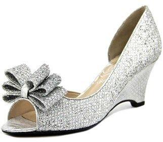 J. Renee Chrissy Women Open Toe Canvas Silver Wedge Heel.