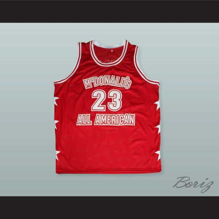 "Michael Jordan 23 McDonald's All American Red Basketball Jersey. STITCH SEWN GRAPHICS  CUSTOM BACK NAME CUSTOM BACK NUMBER ALL SIZES AVAILABLE SHIPPING TIME 3-5 WEEKS WITH ONLINE TRACKING NUMBER Be sure to compare your measurements with a jersey that already fits you. Please consider ordering a larger size, if you prefer a loose fit. HOW TO CALCULATE CHEST SIZE: Width of your Chest plus Width of your Back plus 4 to 6 inches to account for space for a loose fit. Example: 18"" wide chest plus…"