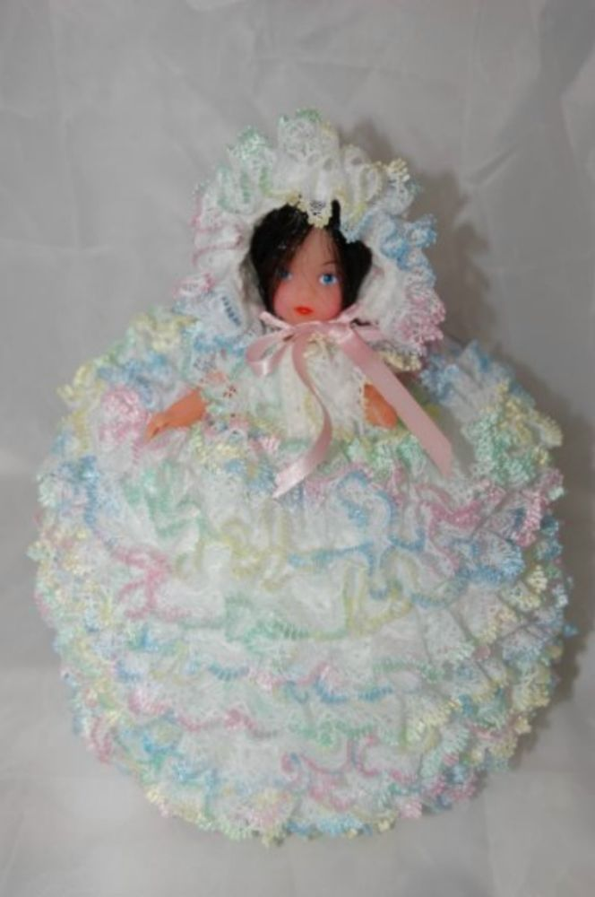 Knit In Lace Doll Toilet Roll Cover Knitting Pattern Not