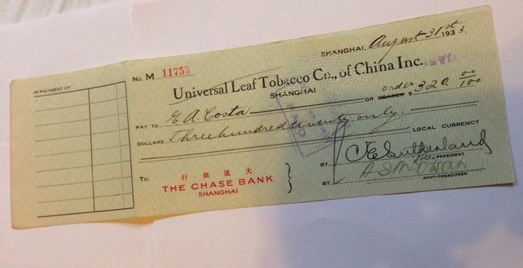 Original Vintage Chase Bank-#Shanghai Check Signed/Cashed 1933 Chinese Tobacco Co #Chase #ChaseBank #Bank #Check #Famous #Cigarette #Cigar