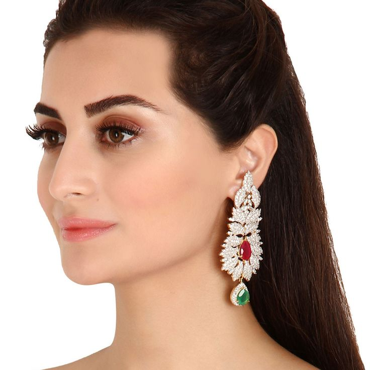 Zircon Earring 35230 #Kushals #Jewellery #Fashion #Indian #Jewellery #Earrings #Designer  #hangings  #modern #unique
