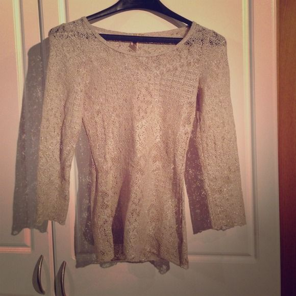 Gold Long Sleeve Top See-through gold glittery top. Only worn a couple of times. No longer fits unfortunately! BKE Tops