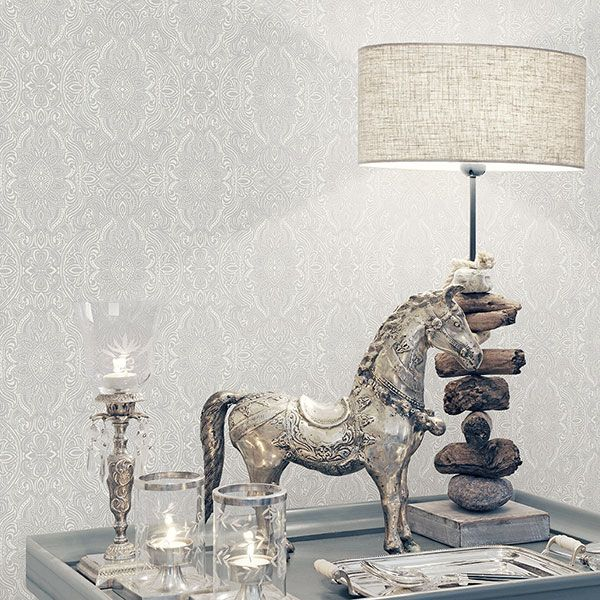 Beautifully detailed and sophisticated grey print from the Indo Chic Wallpaper Collection by Galerie - G67376
